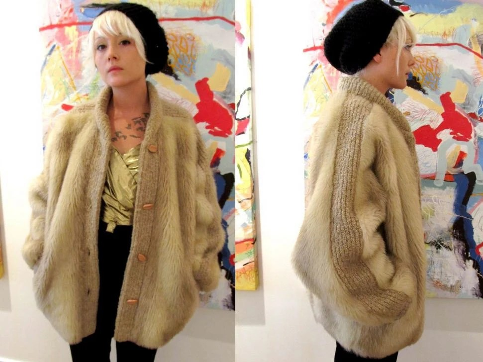 Faux Fur Fluffy Oversized Batwing Toggle Ribbed Slouchy Coat Large