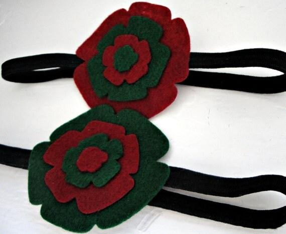 Christmas Felt Flowered Headbands- Set of 2