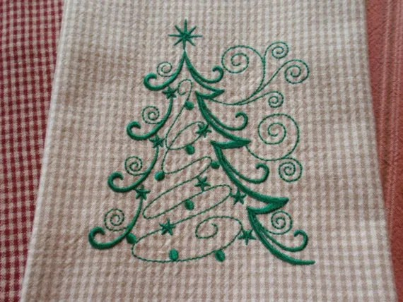 Christmas Tree Embroidered Kitchen Towel