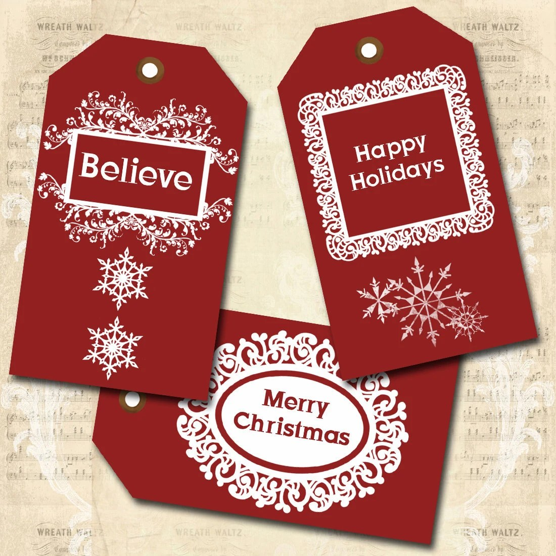 """Digital Collage Sheet - """"Red and White Christmas Tags"""" - Gift Tags, Hang Tags - Download & Print"""
