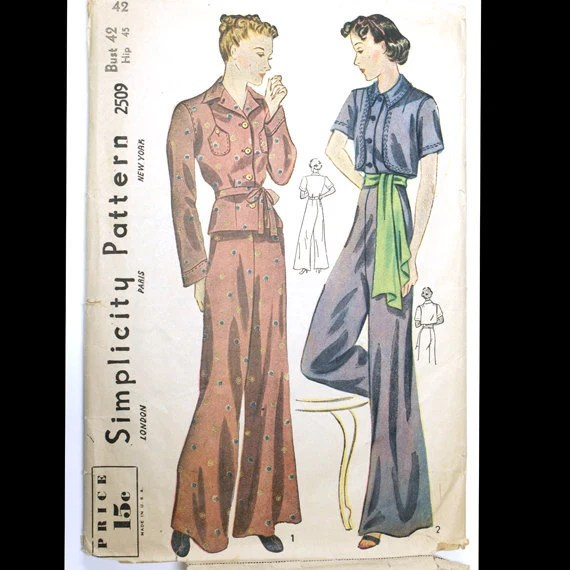 1930s Pajamas Pattern Simplicity 2509 Bust 42