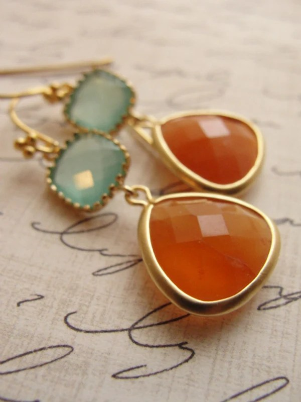 Orange and pale blue gold earrings - orange blue - orange carnelian earrings - shimmery dangle earrings