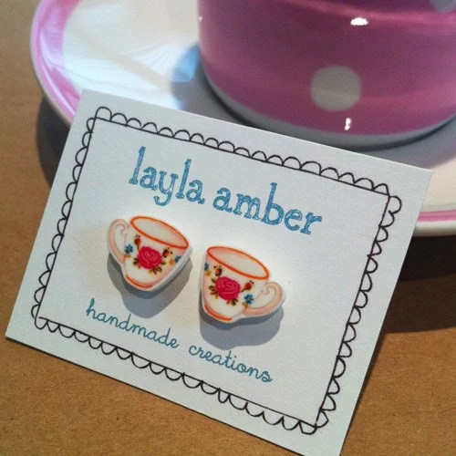 Rose Tea Cup Earrings