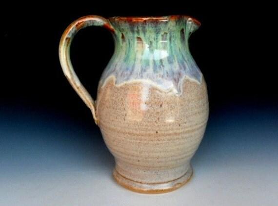 Green Speckled Cream Pitcher Flower Vase