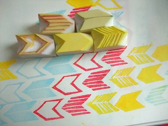 GEOMETRIC - hand carved rubber stamp - a set of 5 mini  rubber stamps (rsm-geo)