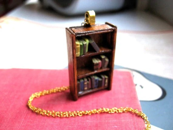 Antique Bookshelf Necklace by Coryographies (Made to Order)