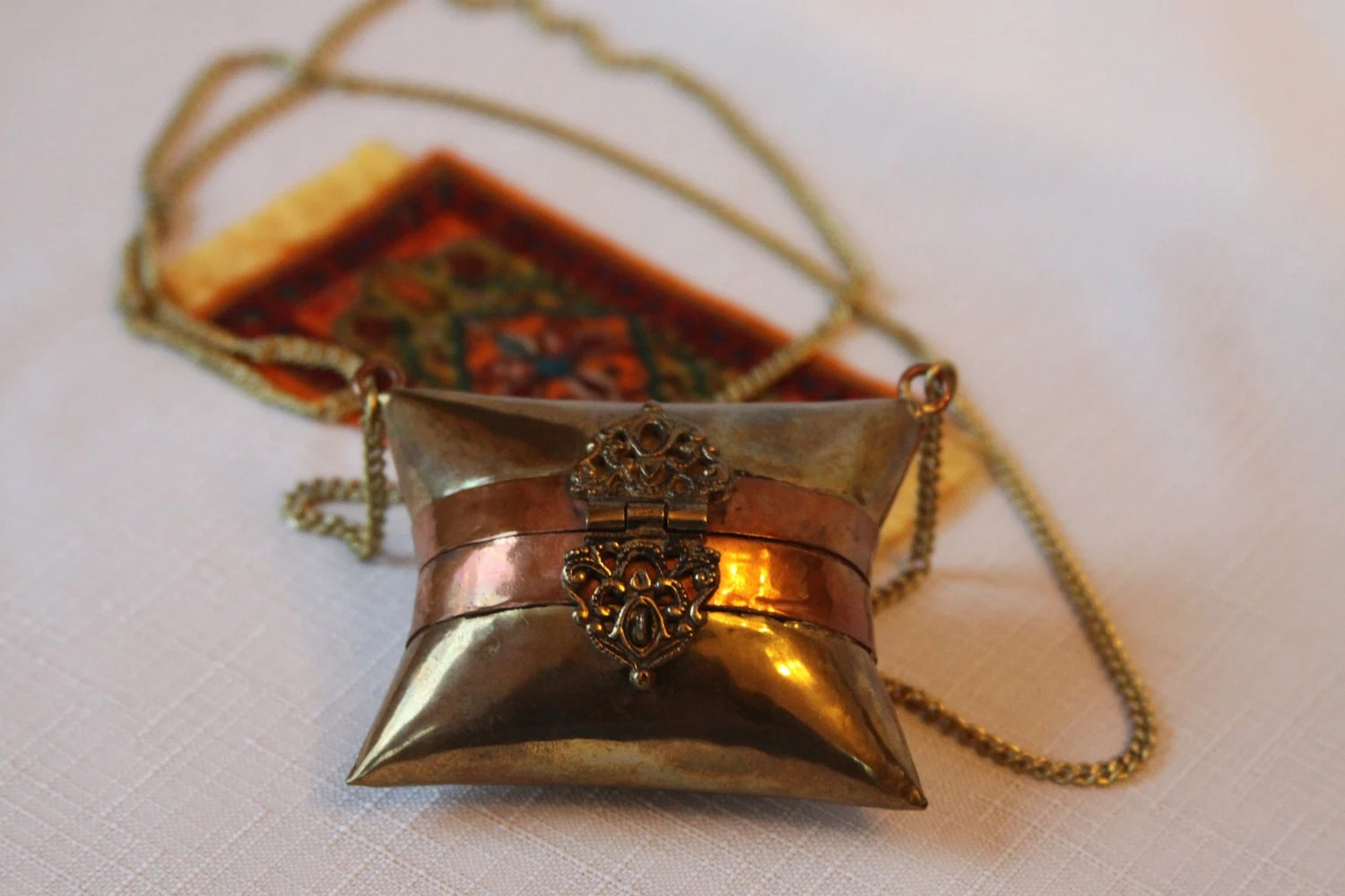 Gold Brass and Copper Pillow Purse Necklace Velvet Lined Long Disco Chain