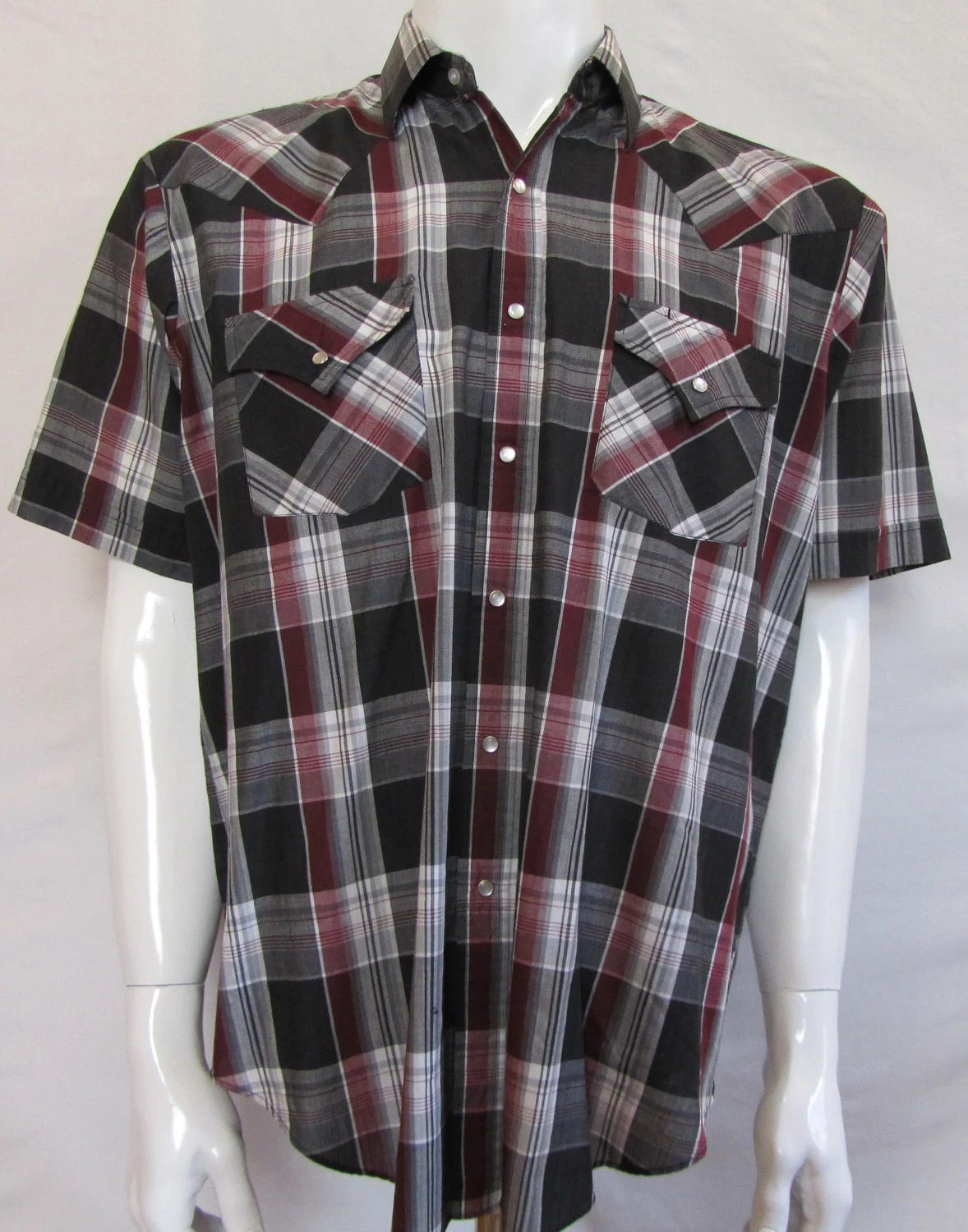 Mens LARGE cowboy shirt, Ely Plains, short sleeved, vintage, black gray maroon plaid, pearl snaps