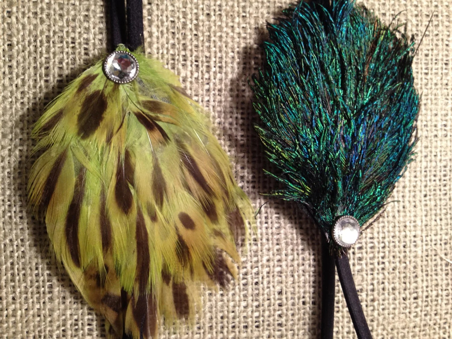 Peacock Feather Turquoise Or Lime Green Cheetah Sasha Headband