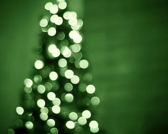 Christmas Photography - holiday decor green christmas lights fine art photography wall art christmas tree photo prints - 8x10 Photograph