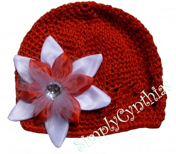 Infant Crochet Beanie Cap With Detachable Christmas Flower