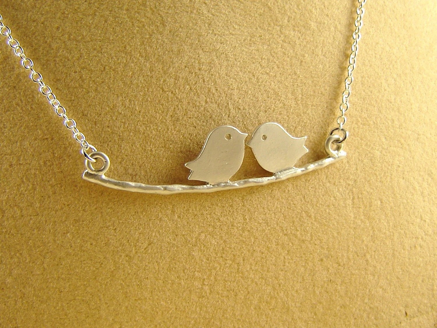 Love Birds on Branch Necklace - Sterling Silver Chain