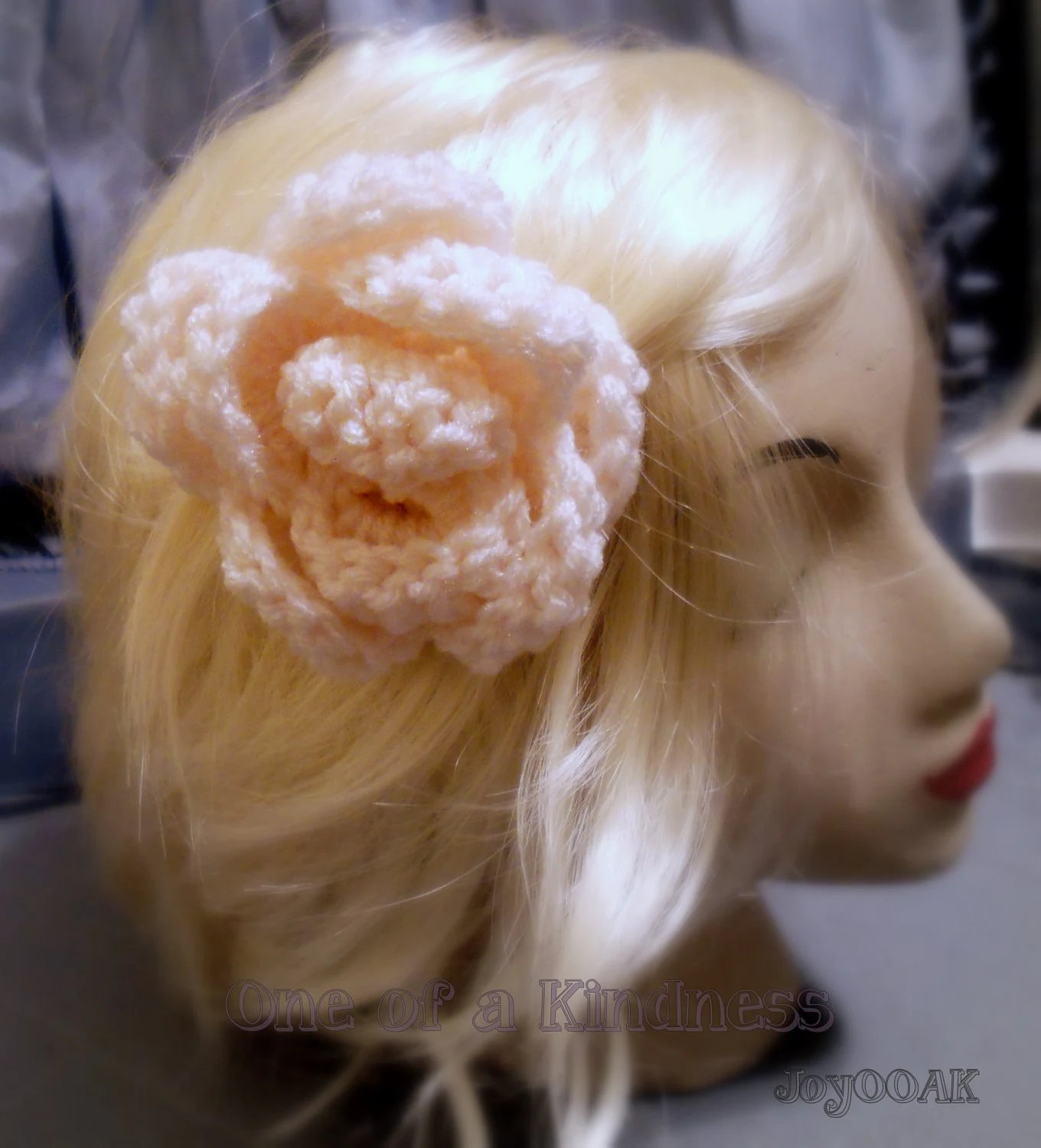 Large Winter White Crochet Acrylic Rose Hairpin @ Etsy