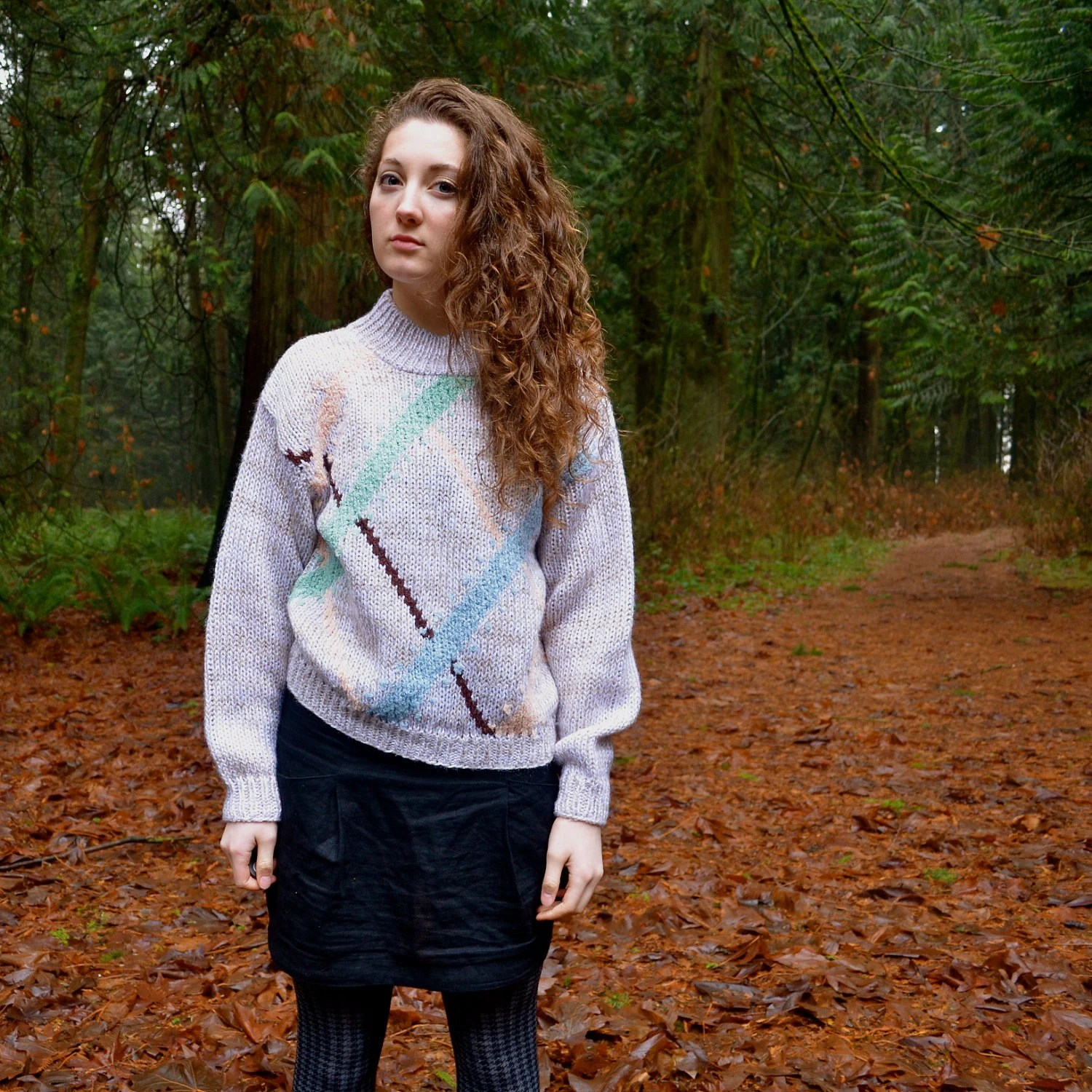 Vintage Soft Oatmeal/Grey Hand-knit Sweater S/M