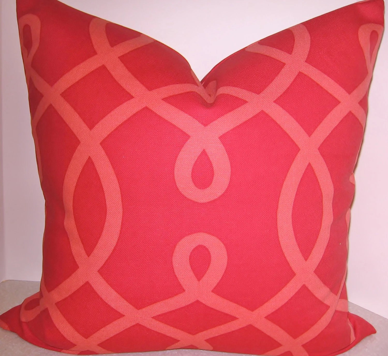 BOTH SIDES 20 X 20 Duralee Cherry Red Geometric pillow cover