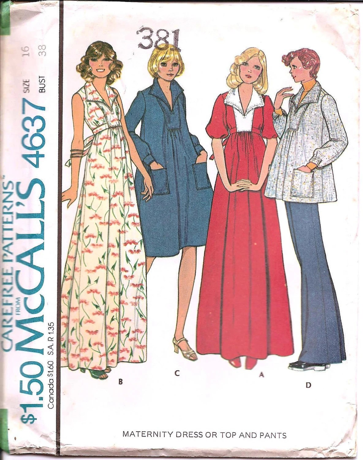 1970s Maternity Dress Top - Vintage Sewing Pattern McCall's 4637 - 38 Bust UNCUT