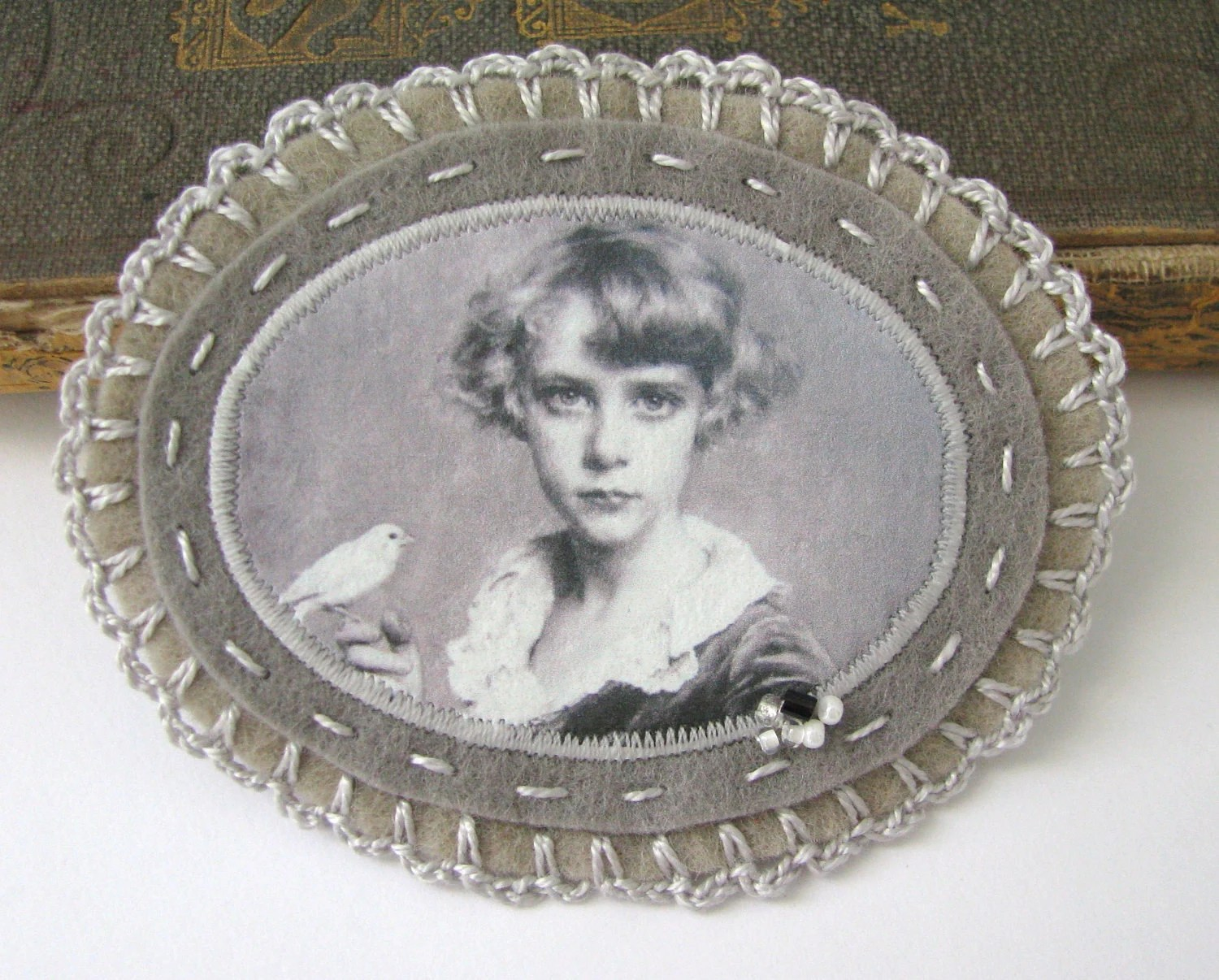 grey portrait brooch - custom order for CINDY