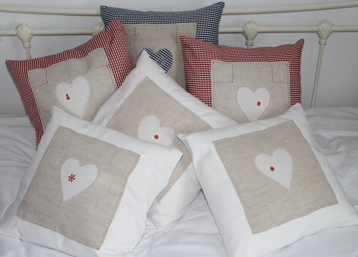 Attractive applique linen heart cushion