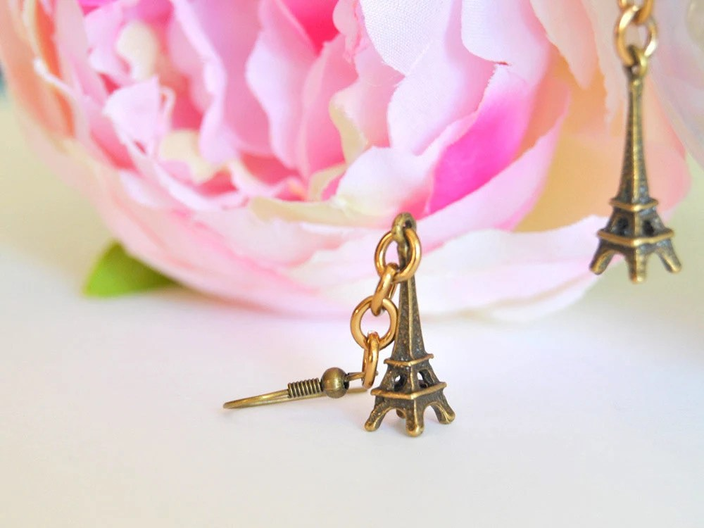 Earrings antiqued brass Paris Tour Eiffel
