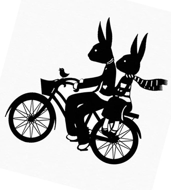Rabbits Bicycle Ramble - Black and White Paper Cut Silhouette Rabbits Love A Holiday Bicycle Ride