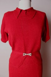 Vintage 1930's Sweater Shirt Skirt Set Dress Red Small