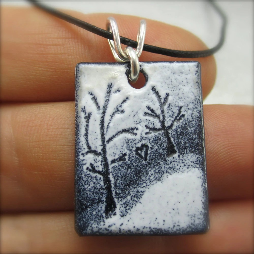 Enameled Tandem Love Tree Pendant by Beth Millner