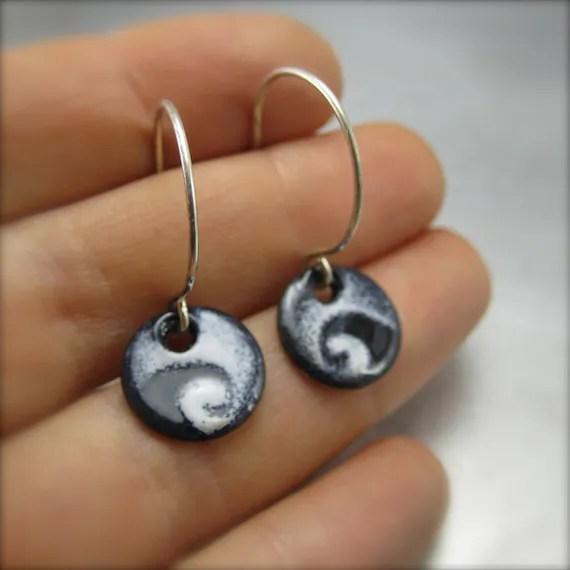 Round Enameled Wave Earrings by Beth Millner