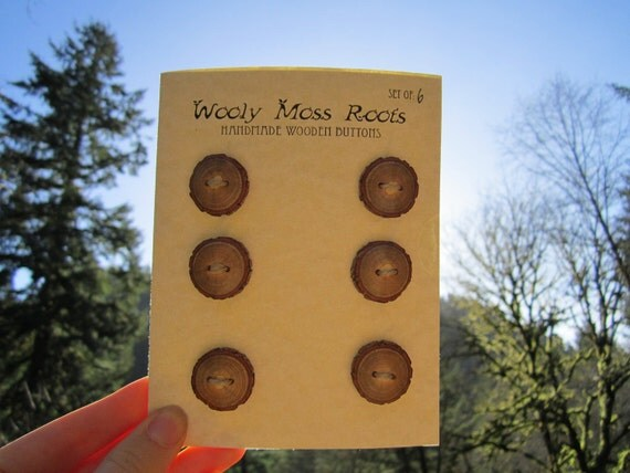 6 Wood Buttons- Handmade Wooden Buttons in reclaimed Sassafras- Knitting, Sewing and Craft Buttons