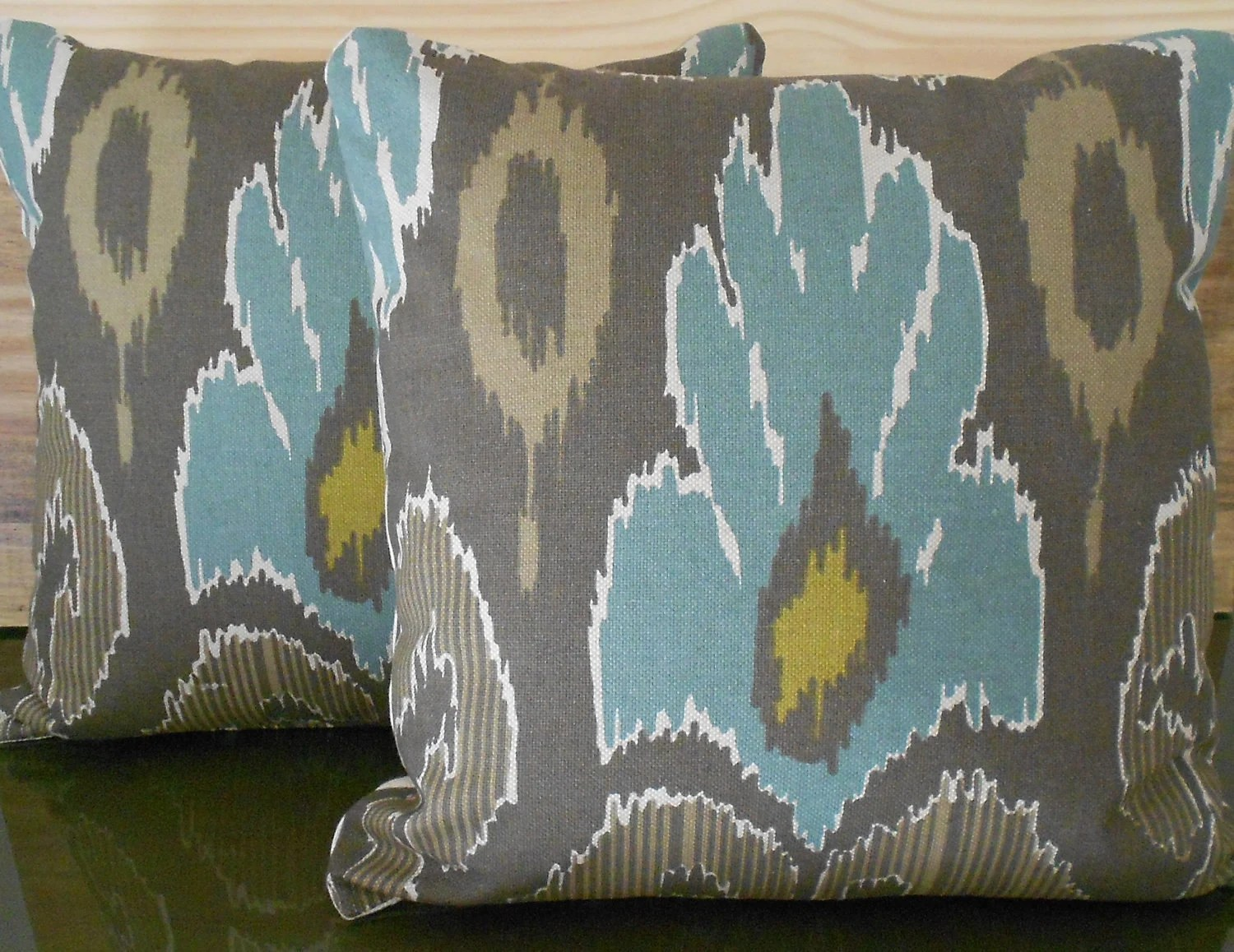 Pair of Ikat decorative pillow covers, spa teal blue, brown and grey, throw pillows