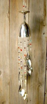 Repurposed Sterling Silver Goblet Cascading Silverware Chime Wind Chime Recycled Silverware Wind Chime