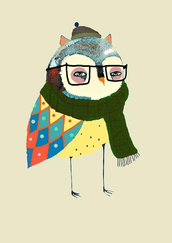 Fashionable Owl. Limited edition Owl art print by Ashley Percival. Owl Art, Children's Art, and Nursery Decor.