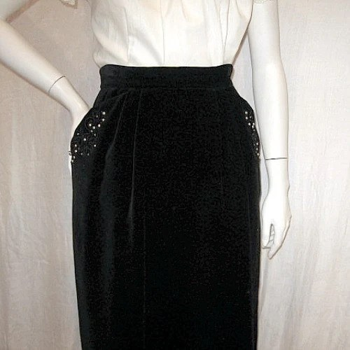 vintage 50s velvet skirt slim fancy pearl pockets