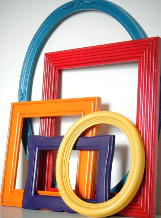 Bohemian Chic Home Decor Wall Frame Collection in Teal blue, Cherry Red, Bright Orange, Mustard Yellow and Dark Purple