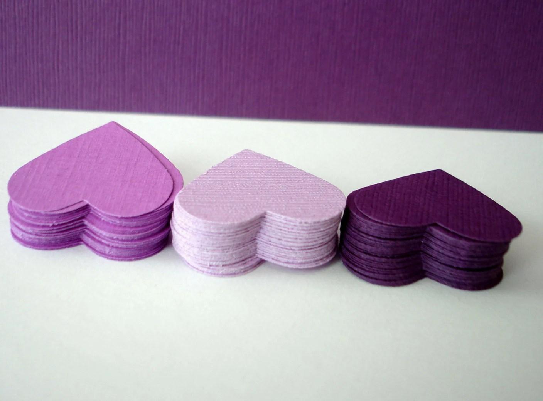 100 Wedding hearts - plum, eggplant, violet, mauve, lavender, lilac, purple textured paper Confettis - die cut hearts
