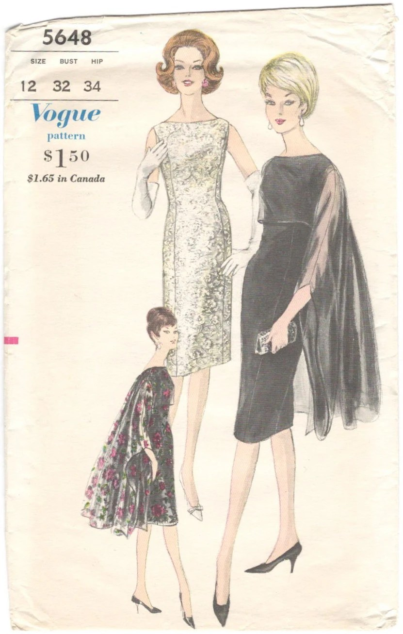 1960s Ming stole and dress pattern - Vogue 5648