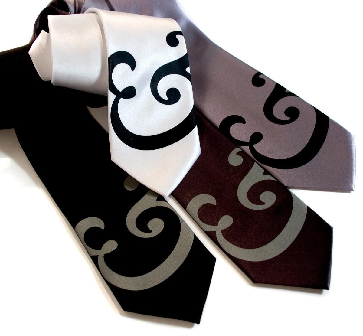"Mid-Century Ampersand necktie. Fancy Caslon font ""and symbol"" screen printed typography microfiber tie. Standard width."