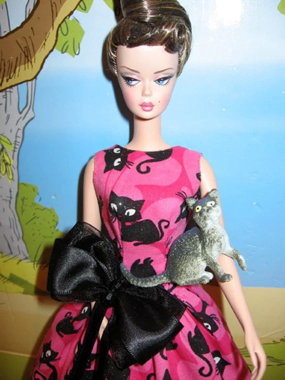 Barbie Retro vintage vogue Style OOAK cotton dress with  Black cats &  pink Butterfly background