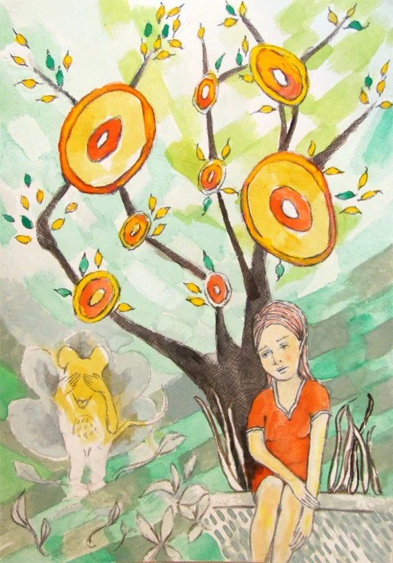 Watercolor and Gouache Storybook Art - girl with mouse and tree - playful art with green, yellow and orange