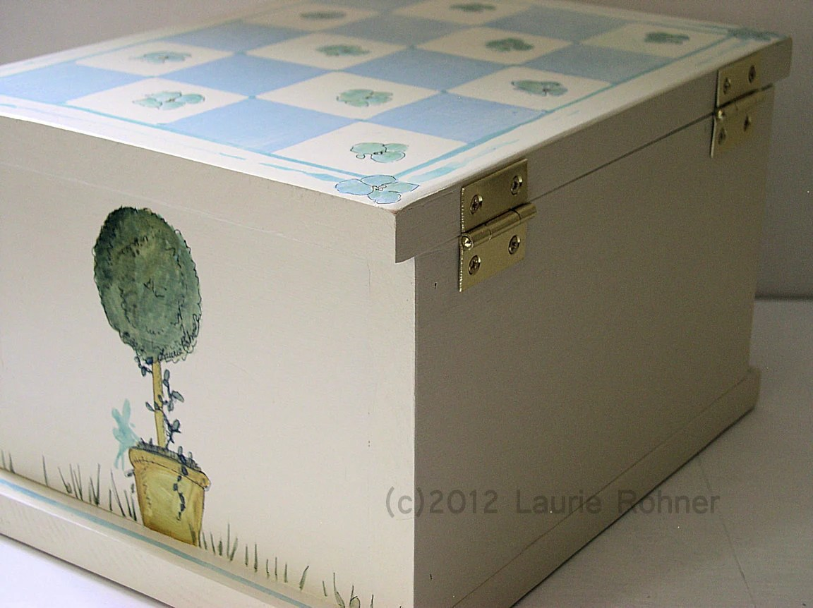 Cottage Painted Box Topiaries Fairies Checkerboard with Hydrangea