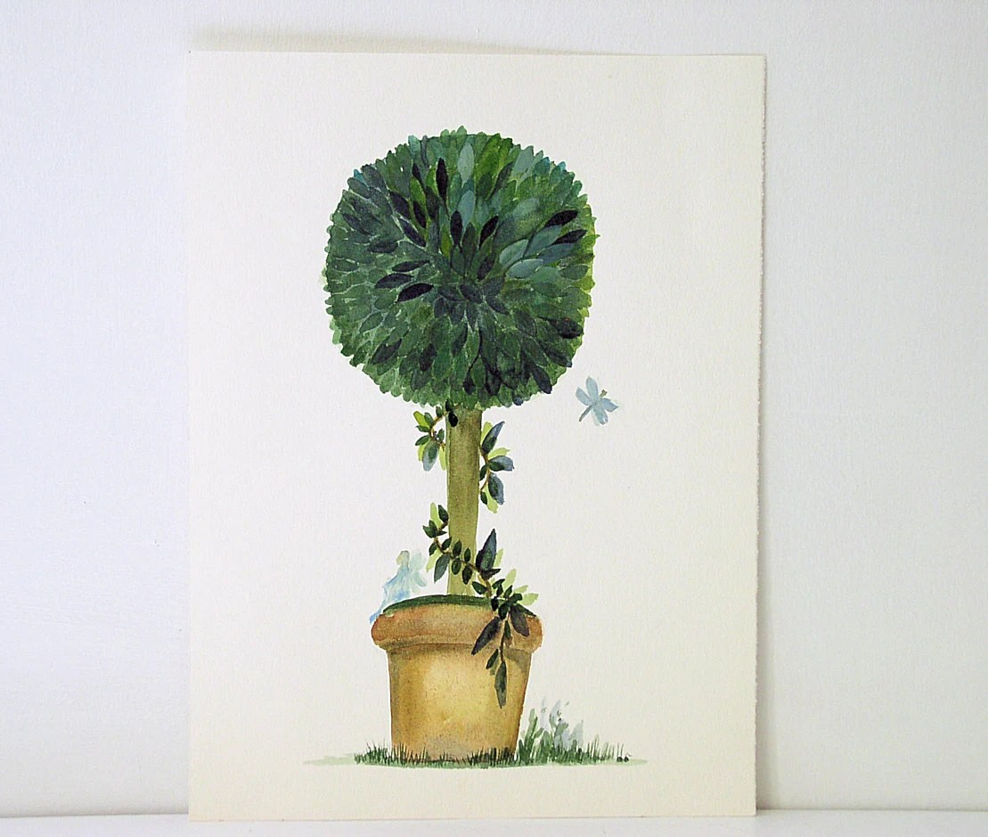Cottage Garden Topiary Watercolor with Fairy Dragonfly
