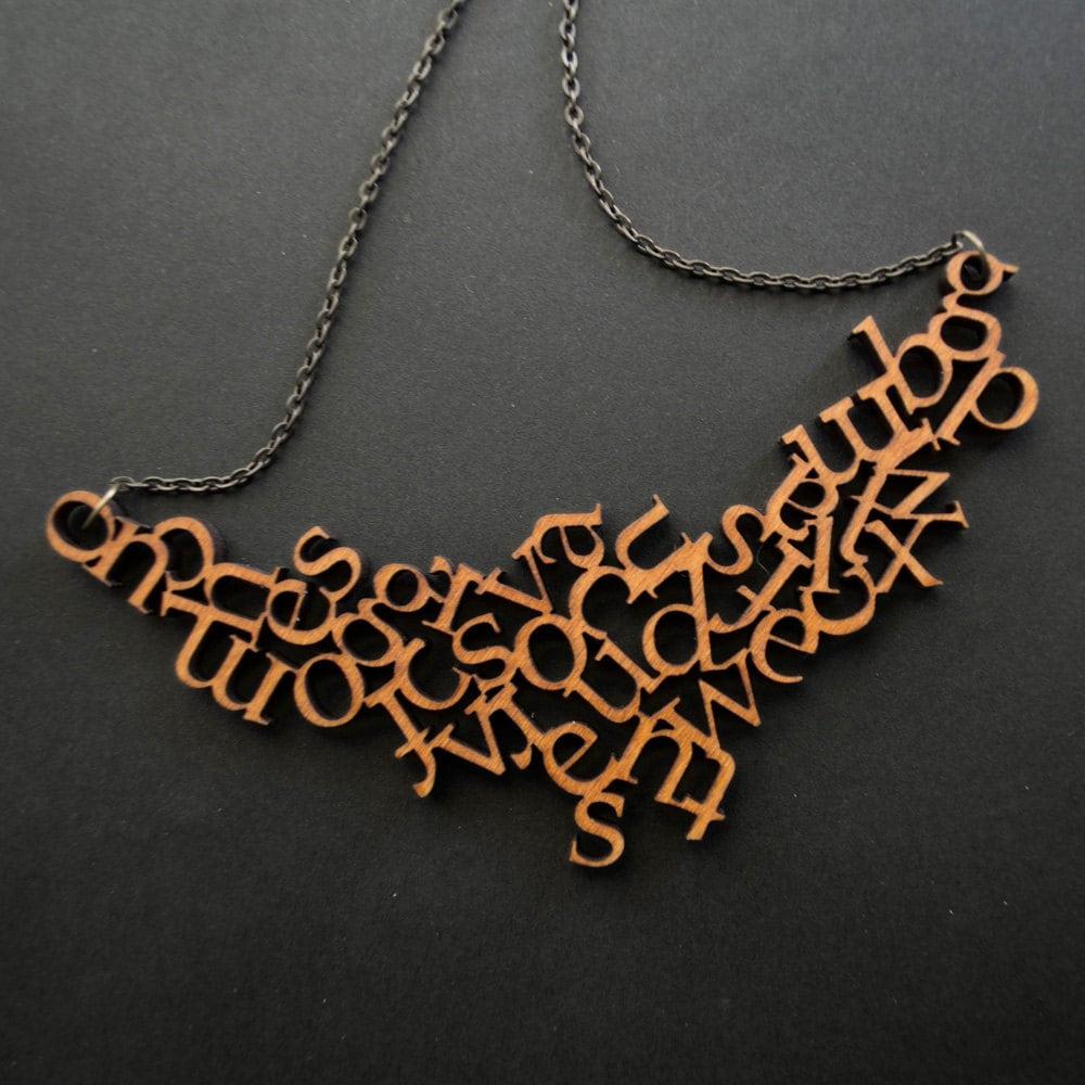 Modern Wooden Alphabet Necklace - Little Red Lantern