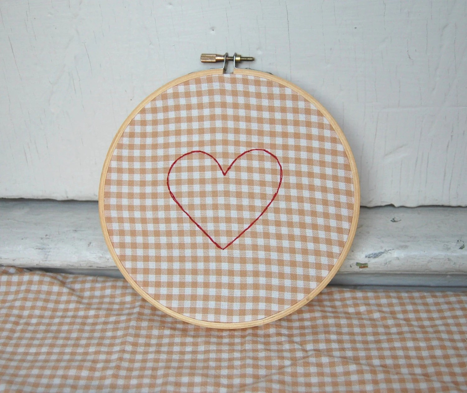heart embroidery on organic cotton gingham from worthygoods textile on etsy.com