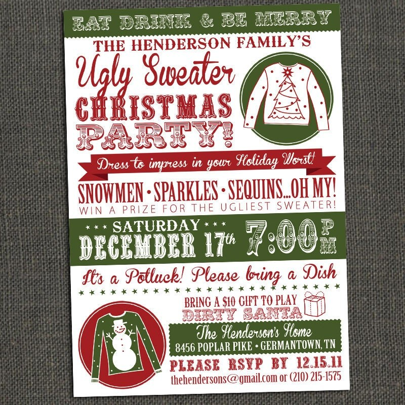 Ugly Sweater Party Invitations – Ugly Sweater Party Invite