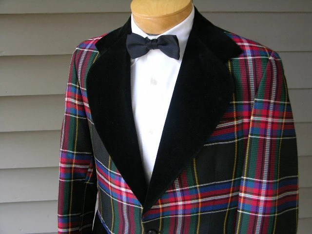 vintage 1970's Men's Dinner jacket. Bright plaid & Black Velvet.