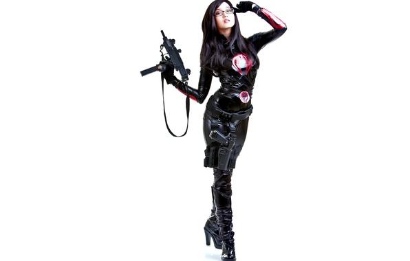 Wallpaper white, girl, face, gun, weapons, background