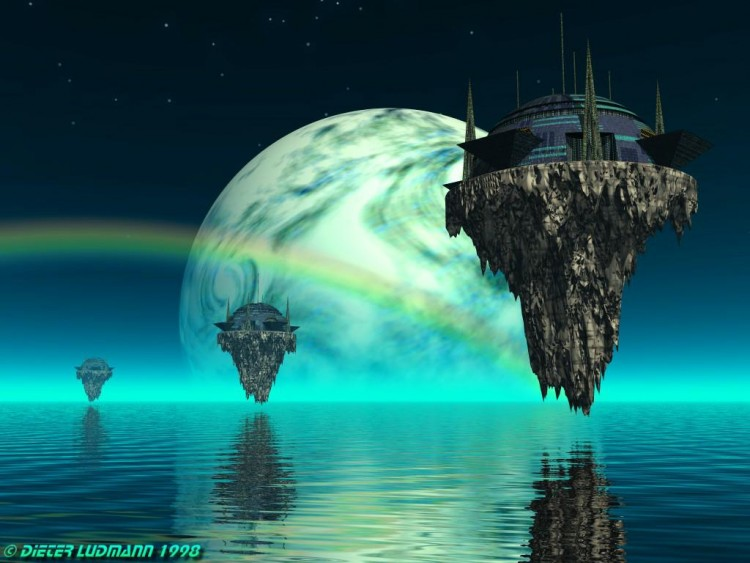 Wallpapers Fantasy and Science Fiction Futuristic Landscapes Flying Castles