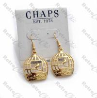 QUIRKY BIRD CAGE EARRINGS gold plated CUTOUT VINTAGE ...