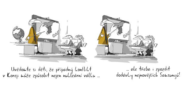 Kreslený vtip: Uvědomte si děti, že případný konflikt v Koreji může způsobit nejen nukleární válku ... ale třeba i zpozdit dodávky nejnovějších Samsungů. Autor: Marek Simon