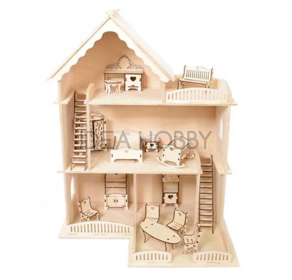 maison de poupee miniature et son mobilier 3d en bois a monter idea hobby