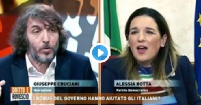 It amazes me that a leftist woman like you .... Cruciani embarrasses Fusani: her shame live against Rinaldi